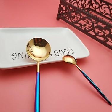 Pink&More 36 Parça Parlak Altın Mavi Çatal Bıçak Seti Mavi